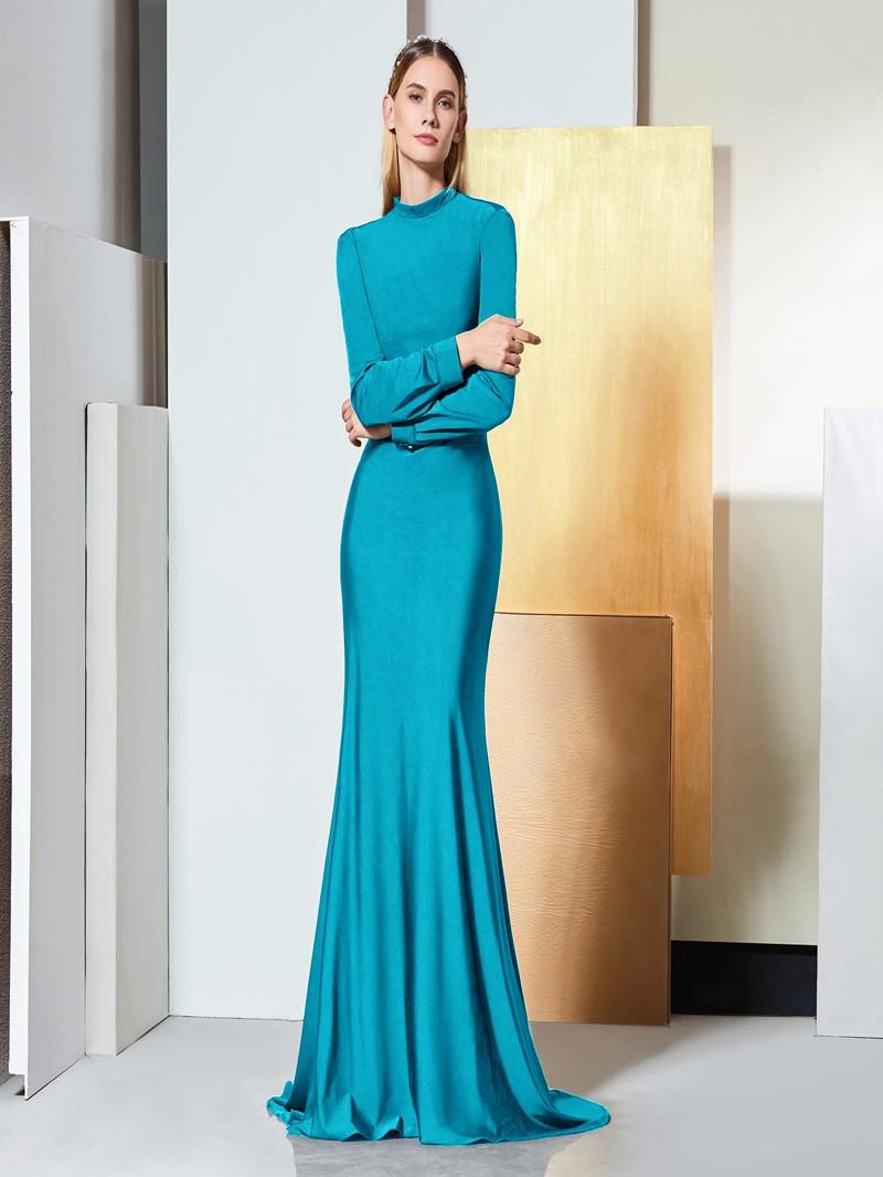 Ericdress Long Sleeve High Neck Backless Mermaid Evening Dress