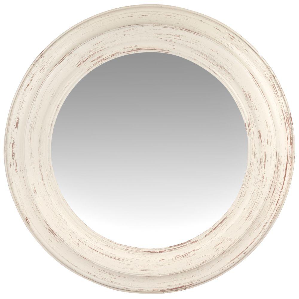 Runder Spiegel mit weissem Rahmen in Antikoptik D75