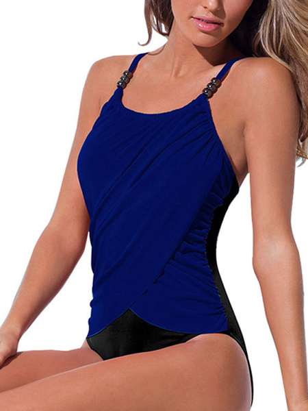 Milanoo One Piece Swimsuits For Women Pink Two-Tone Pleated Straps Neck Backless Natural Waist Summer Beach Bathing Suits