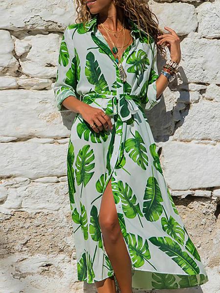 Yoins Belted Tropical Slit Hem Lace-up Design V-neck Long Sleeves Dress