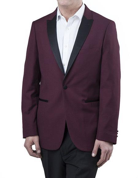 Men's 2Toned Peak Lapel Regular Fit 2 Piece Burgundy Tuxedo Suit Black
