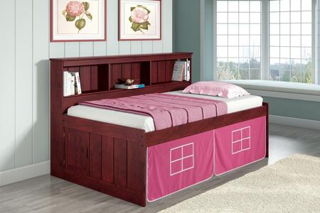 1222-TM_1250-TP Twin Daybed Bookcase Captains Bed In Merlot Finish W/Pink Tent