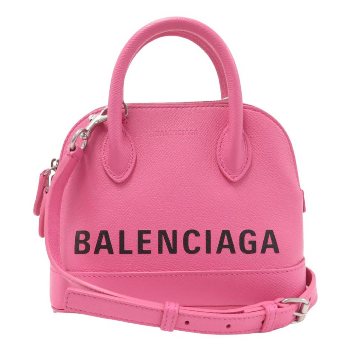 Balenciaga Ville Top Handle Pink Leather handbag for Women N