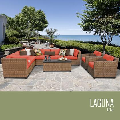 LAGUNA-10a-TANGERINE Laguna 10 Piece Outdoor Wicker Patio Furniture Set 10a with 2 Covers: Wheat and