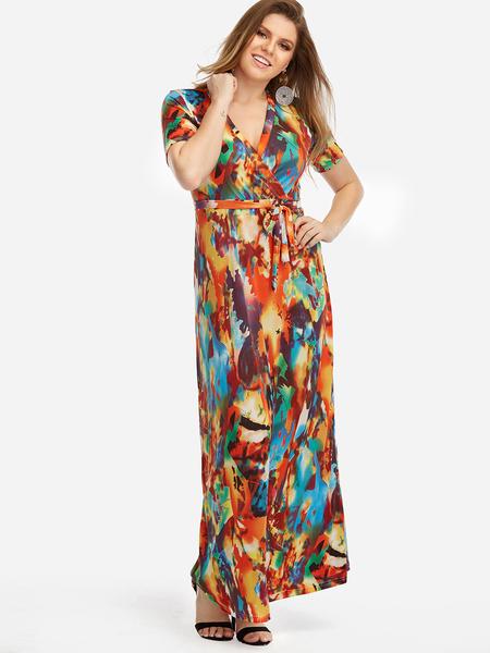 Yoins Plus Size Multi Self-tie Design Tie-dye Maxi Dress