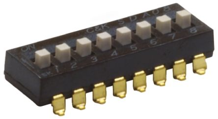 C & K 8 Way Surface Mount DIP Switch SPST, Extended Actuator