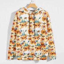 Kapuze mit Blumen Muster und sehr tief angesetzter Schulterpartie
