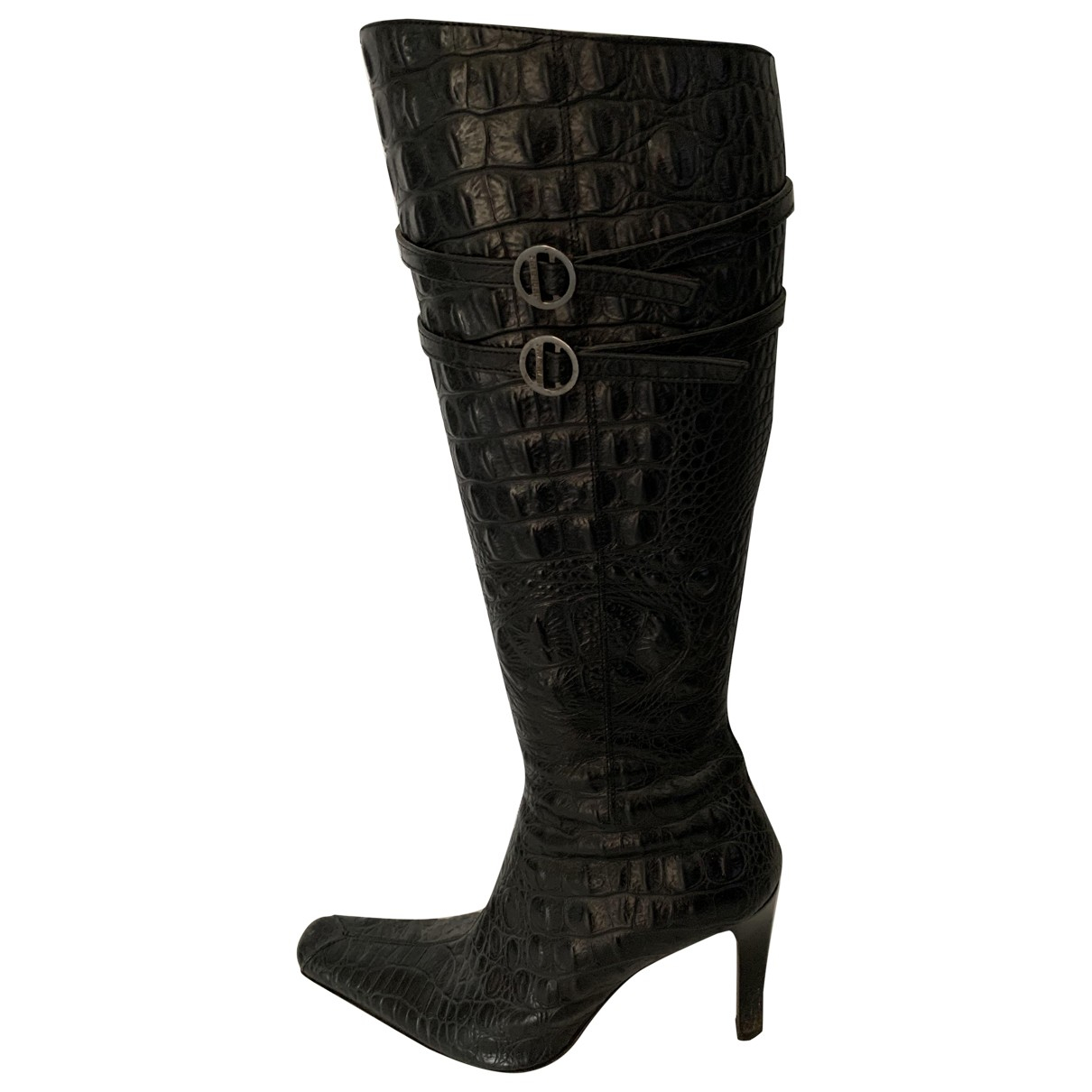 Versace \N Stiefel in  Schwarz Aligator