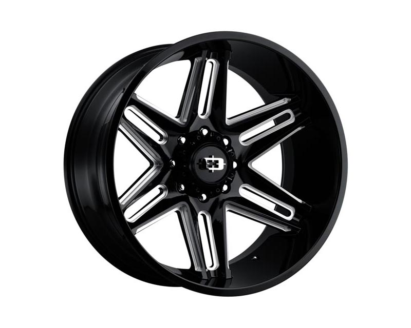 Vision Wheels 363-22270GBMS-51 Razor Wheel 22x12 8x1700x51 BKGLBM Gloss Black Milled Spokes