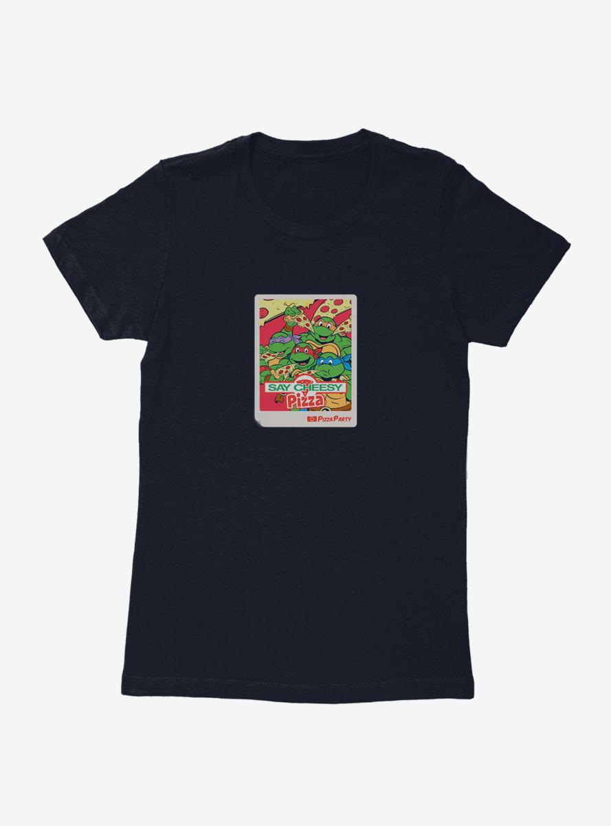 Teenage Mutant Ninja Turtles Say Cheesy Pizza Photo Womens T-Shirt