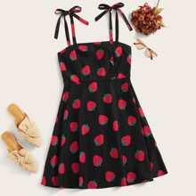 Plus Strawberry Print Self Tie Shoulder Dress