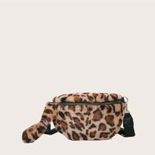 Riñonera mullida con estampado de leopardo