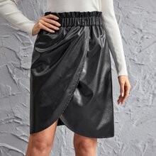 Paperbag Waist Wrap PU Leather Skirt