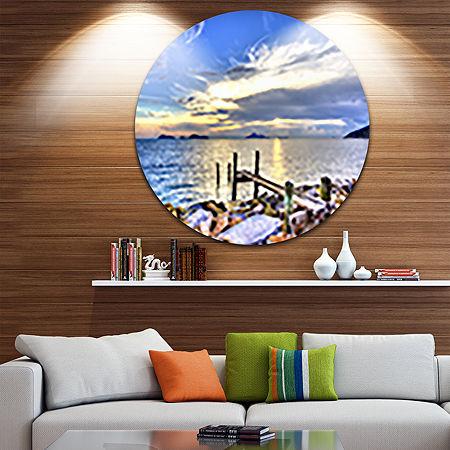 Design Art Makeshift Wooden Pier into the Sea Ultra Vibrant Large Seashore Metal Circle Wall Art, One Size , Blue