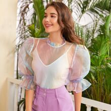 Knot Cuff Frilled Neck Sheer Organza Top Without Camisole