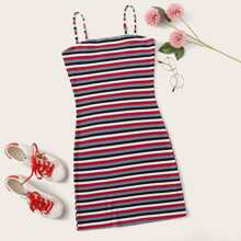 Ribbed Striped Mini Cami Dress