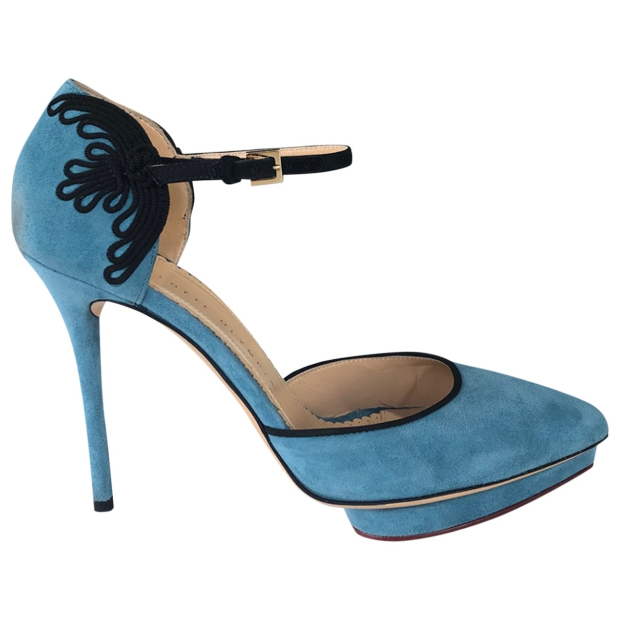 Charlotte Olympia Debbie Pumps in  Blau Veloursleder