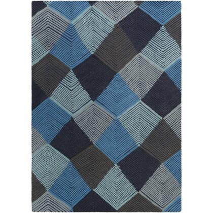 Harlequin HQL-8042 2' x 3' Rectangle Modern Rug in Sky Blue  Light Gray  Dark Brown  Black  Aqua