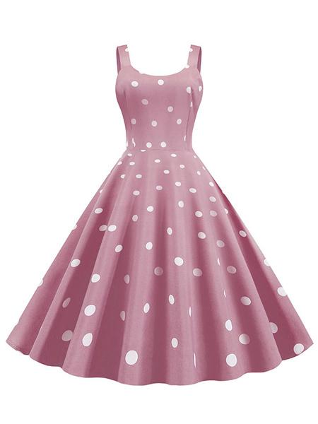 Milanoo Vintage Dress 1950s Polka Dot Woman Sleeveless Jewel Neck Swing Dress