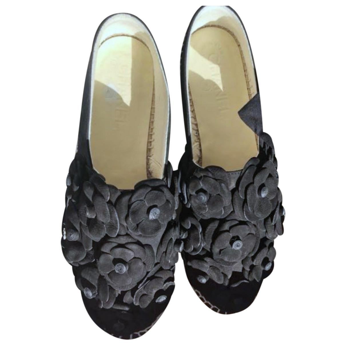 Chanel - Espadrilles   pour femme en suede - noir