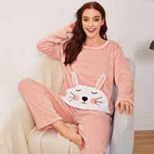 Cartoon Embroidery Flannel Pajama Set