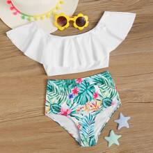 Girls Tropical Flounce High Waisted Bikini Swimsuit