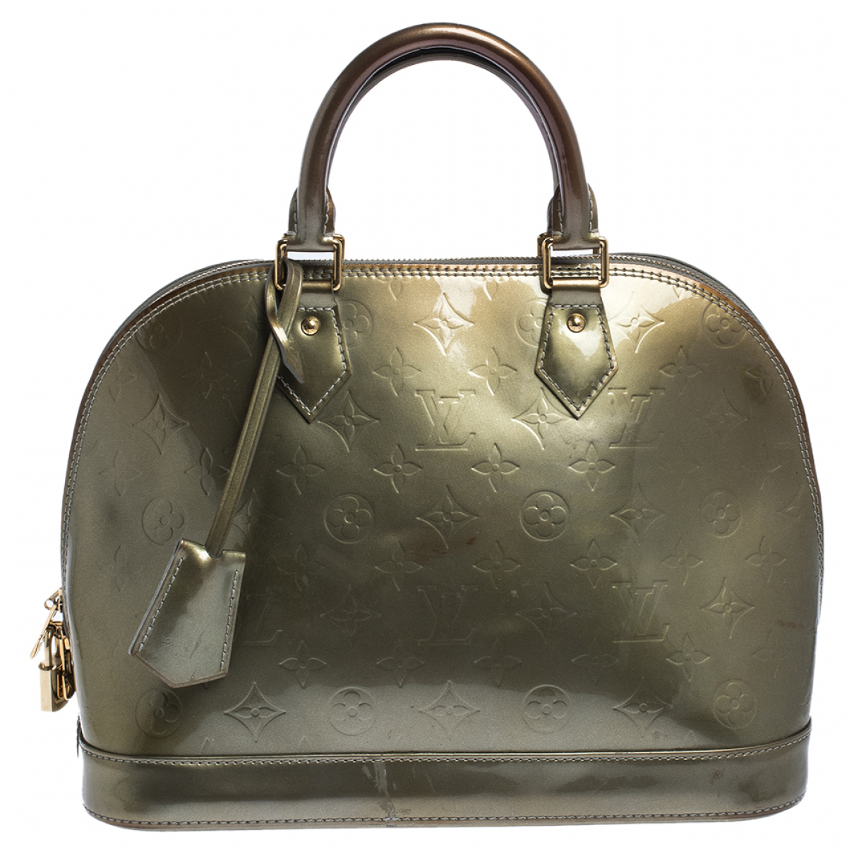 Louis Vuitton Alma Green Patent leather handbag for Women N