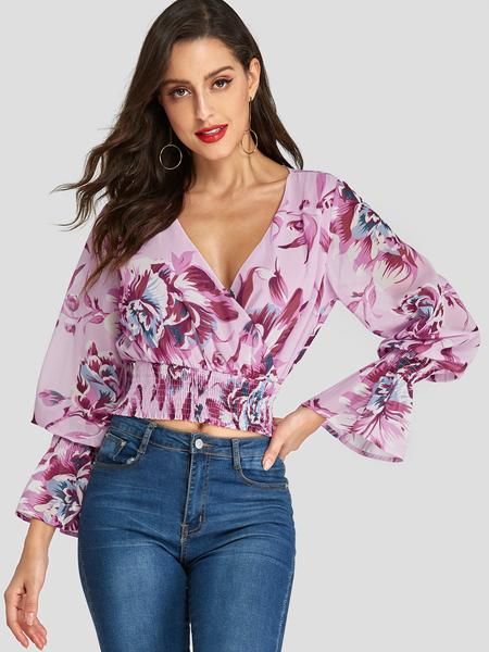 Yoins Pink Crossed Front Design Random Floral Print Deep V Neck Blouse