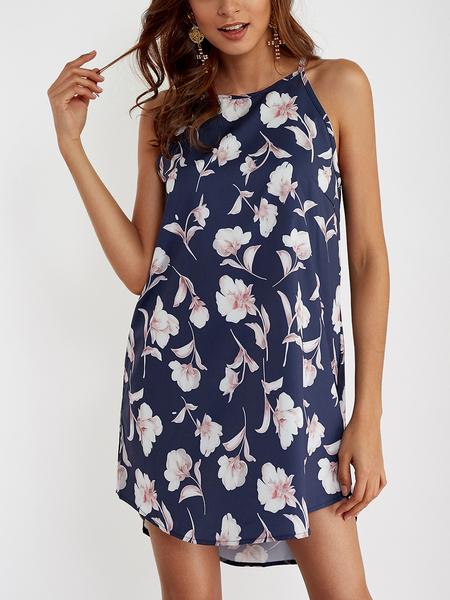 Yoins Navy Random Floral Print Curved Hem Sleeveless Mini Dress
