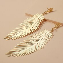 Hollow Metal Feather Drop Earrings