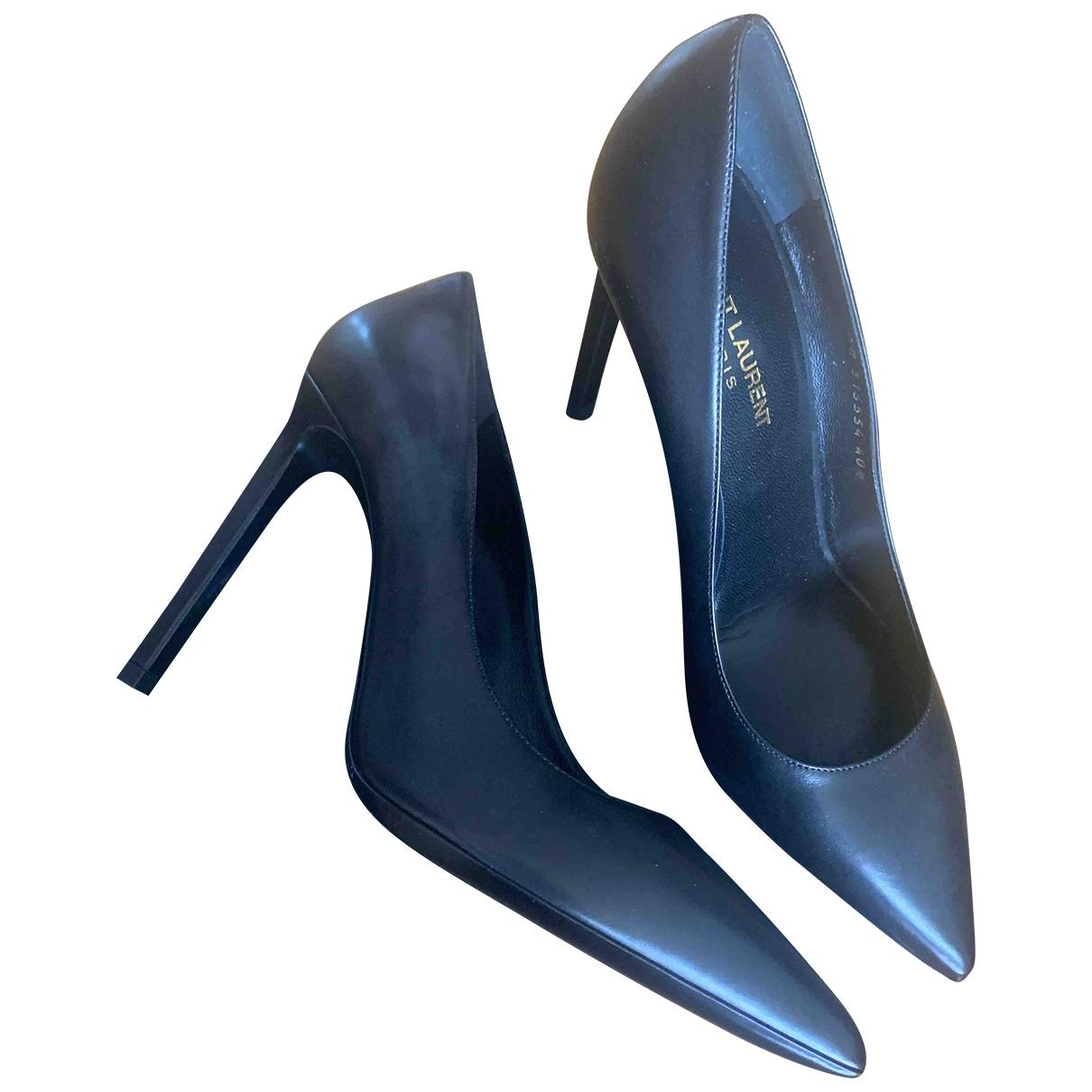 Saint Laurent \N Black Leather Heels for Women 40.5 EU