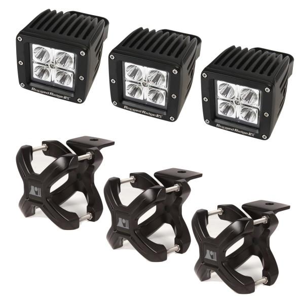 Rugged Ridge 15210.03 Light Kit, X-Clamp/Square LED, Large, Black, 3 Pieces