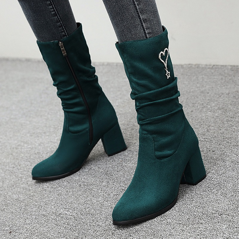 Ericdress Plain Chunky Heel Side Zipper OL Boots