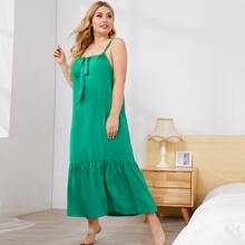 Cami Kleid mit Band vorn und Rueschenbesatz