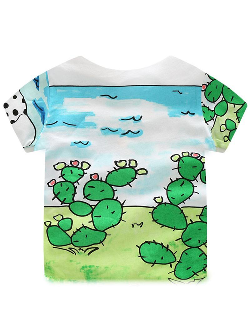 Ericdress Cartoon Print Short Sleeve And Pant Boys Summer Outfit 2-Pcs Set