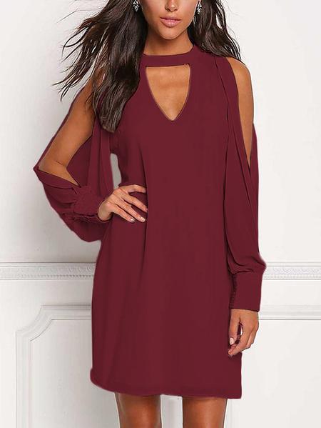 Yoins Wine Red V-neck Cold Shoulder Long Sleeves Chiffon Dress