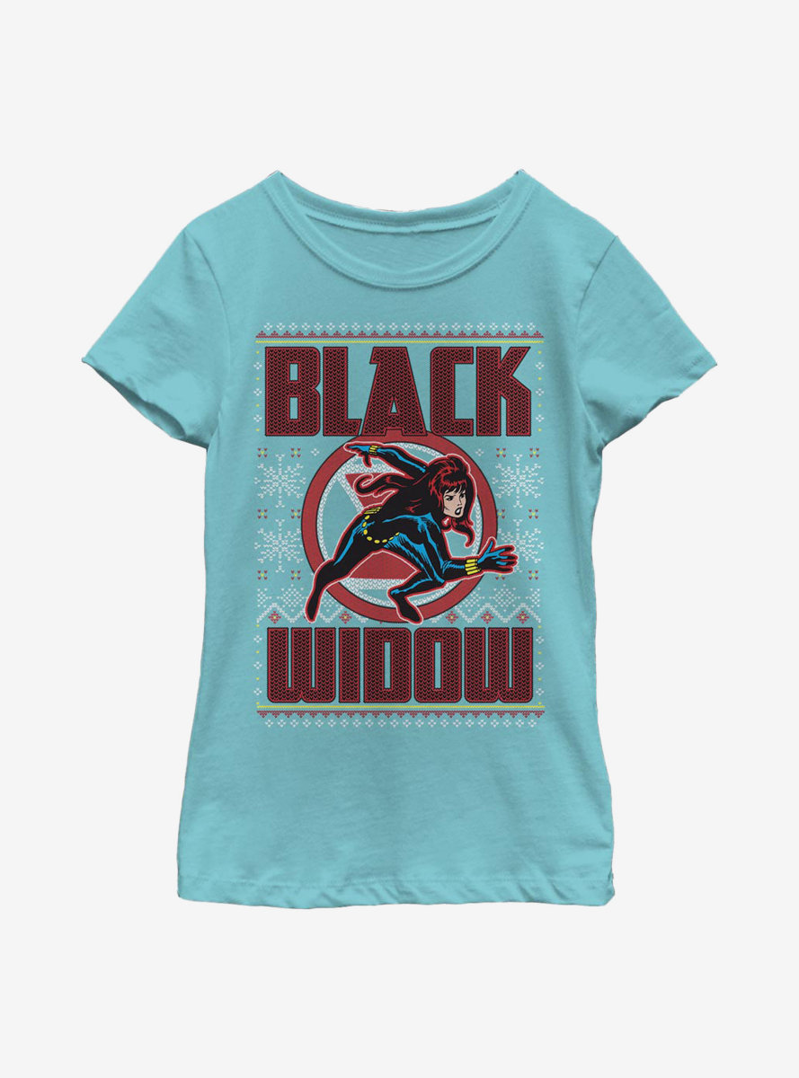 Marvel Black Widow Christmas Holiday Pattern Youth Girls T-Shirt
