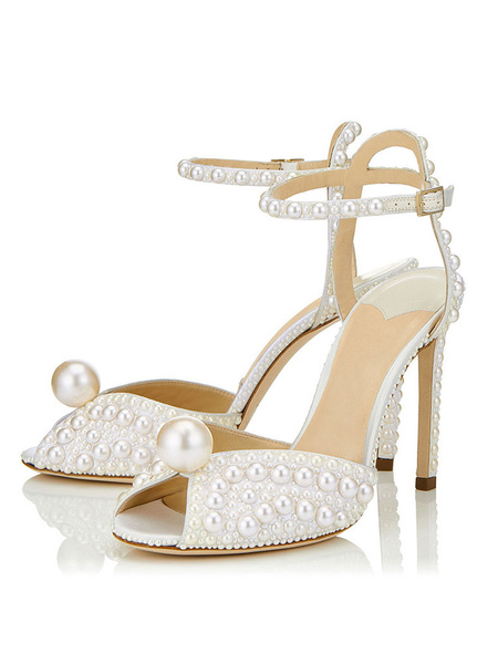 Milanoo Women Evening Shoes White Peep Toe Pearls Detail Ankle Strap High Heel Sandals Wedding Shoes