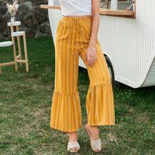 pantalones de rayas bajo fruncido de cintura con cordon