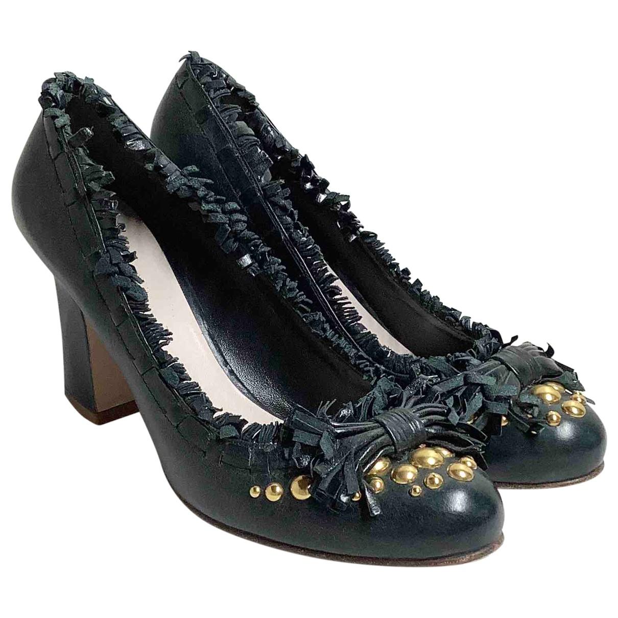 Miu Miu \N Khaki Leather Heels for Women 39.5 EU