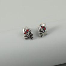 Men Skull Decor Stud Earrings