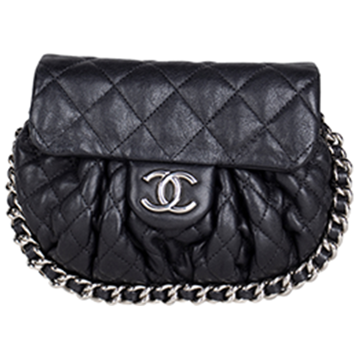 Chanel Chain Around Black Leather handbag for Women N