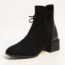 Tie Front Wide Fit Chunky Heeled Boots