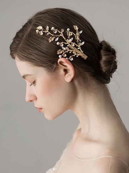 Milanoo Wedding Hair Clip Gold Headpieces Bridal Hair Accessories