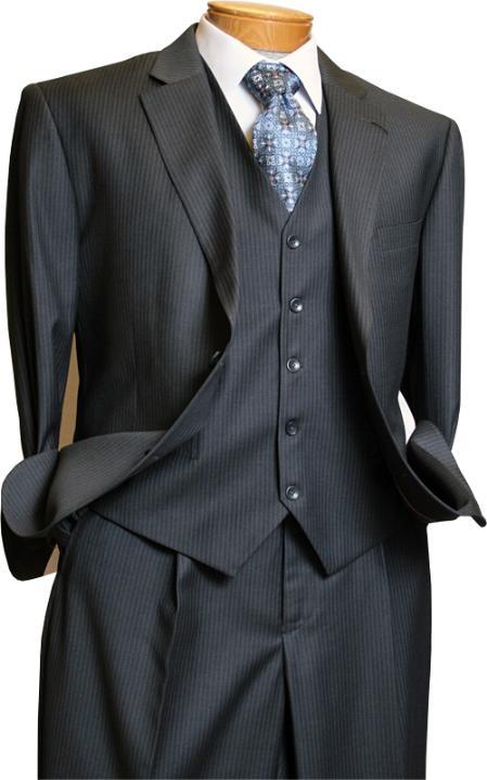 Tailored Mens 3 Piece Suit Grey Pinstripe Italian Design Cheap