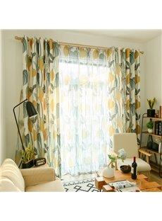 Blackout Fresh Style Leaf Custom Living Room Curtain