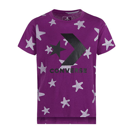Converse Big Girls Crew Neck Short Sleeve Graphic T-Shirt, Small , Purple
