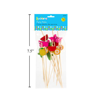 We Remain Open Luciano 16pcs Wooden Tropical Fruit Picks, 4.7