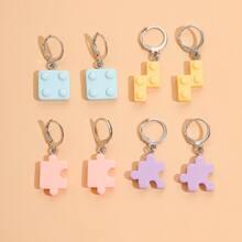 4pairs Puzzle Drop Earrings