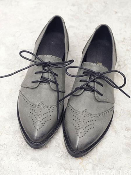 Milanoo Zapatos casuales con cordones de cuero de PU con punta en punta de oxfords grises para mujer